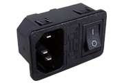 Comnined IEC Inlet with Switch and Fuseholder - Panel Mount