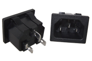 IEC Mains Inlet Socket, Snap in, Panel mount