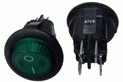 Mains On-Off DPST Rocker Switch, Round Green Neon