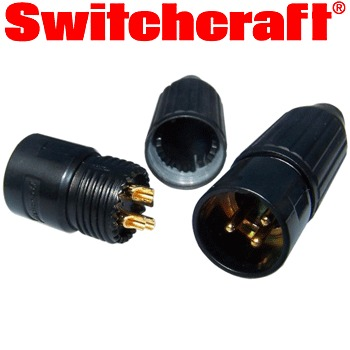 Switchcraft XLR male plug, gold plated, black bodied